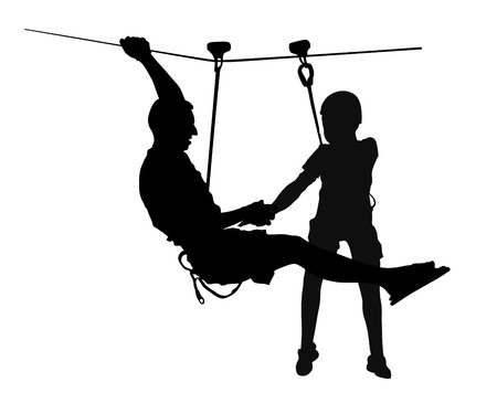 Extreme sportsman took down with rope. Man climbing vector silhouette illustration, isolated on the white background. Sport weekand action in adventure park rope ladder. Ropeway for fun, team building. Fathers day, father and son enjoy together.