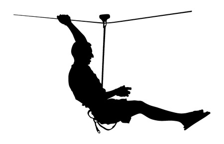 thrilling: Extreme sportsman took down with rope. Man climbing vector silhouette illustration, isolated on the white background. Sport weekand action in adventure park rope ladder. Ropeway for fun, team building