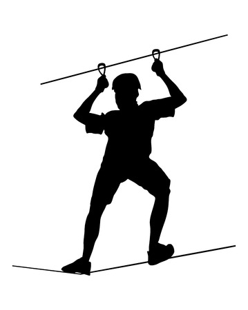 rope ladder: Extreme sportsman took down with rope. Man climbing vector silhouette illustration, isolated on the white background. Sport weekand action in adventure park rope ladder. Ropeway for fun, team building