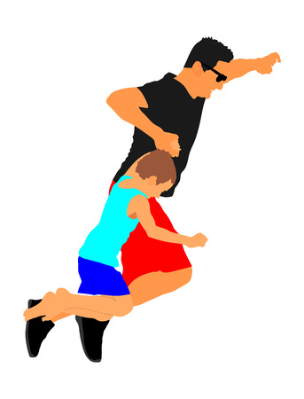 six year old: Father and son jumping vector illustration isolated on white background. Fathers day. Boy spend wekend with father.