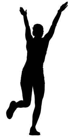 Fitness instructor training vector silhouette isolated on white background. Sport woman active in gym.  Athlete lady doing exercise. Warming up and workout activity. Ilustracja