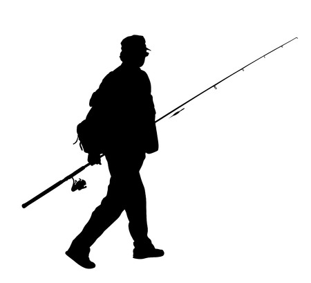 Fisherman vector silhouette illustration isolated on white background. Stock Illustratie
