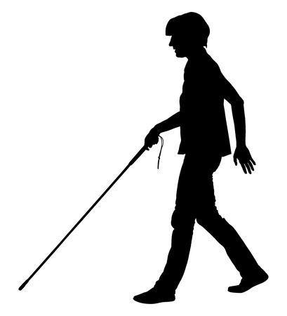 Blinde persoon wandelen met stok vector silhouet illustratie.