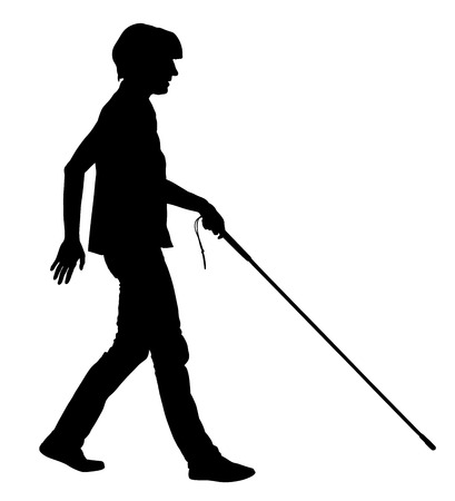 sightless: Blind person walking with stick vector silhouette illustration.