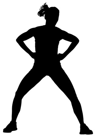 Fitness instructor vector silhouette illustration isolated on white background. Sport, training, gym and lifestyle concept. Dancer silhouette vector. Illustration