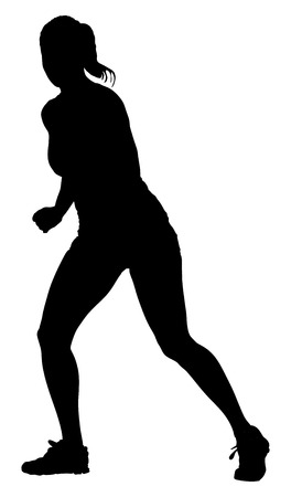 step fitness: Fitness instructor vector silhouette illustration isolated on white background. Sport, training, gym and lifestyle concept. Dancer silhouette vector. Illustration