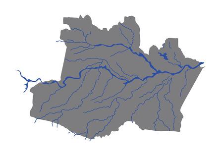 Amazonas,Brazil, vector map isolated on white background. High detailed silhouette illustration. Illustration