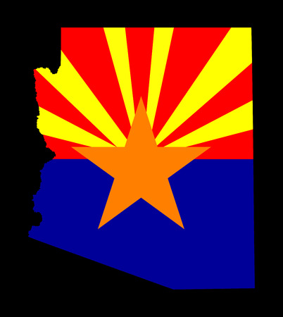 Arizona vector map and vector flag isolated on black background. High detailed illustration.