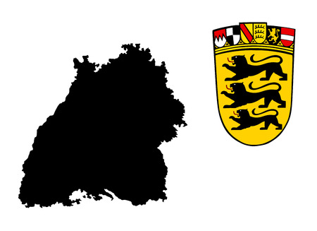 Coat of arms of Baden-wurttemberg, Germany. Original and simple flag isolated vector in official colors and Proportion Correctly, vector illustration isolated on white background.