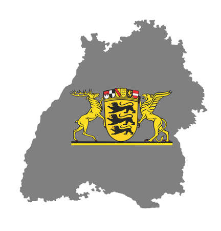 Coat of arms of Baden-wurttemberg, Germany, isolated vector in official colors and Proportion Correctly..Baden-Wurttenberg vector map, high detailed silhouette illustration. Province in Germany Stock Illustratie