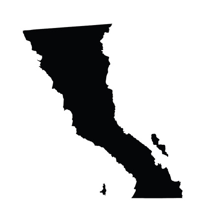 Baja California, Mexico, vector map isolated on white background. High detailed silhouette illustration.