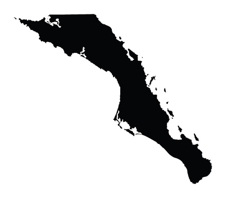 Baja California Sur, Mexico, vector map isolated on white background. High detailed silhouette illustration. Vectores