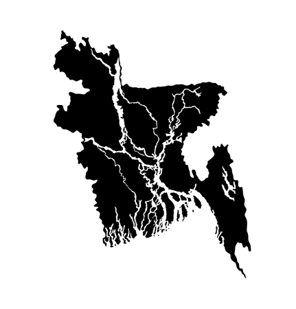 Bangladesh vector map high detailed silhouette illustration isolated on white background.