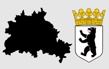Berlin map silhouette high detailed illustration isolated on background. Province in Germany, and city in Germany, Berlin coat of arms and map.