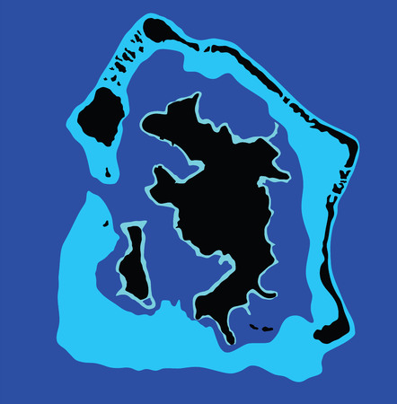 motu: Bora Bora island, vector map isolated on blue background. High detailed silhouette illustration