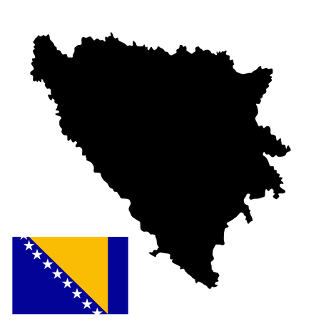 Bosnia and Herzegovina vector map and vector flag isolated on white background. High detailed silhouette illustration.
