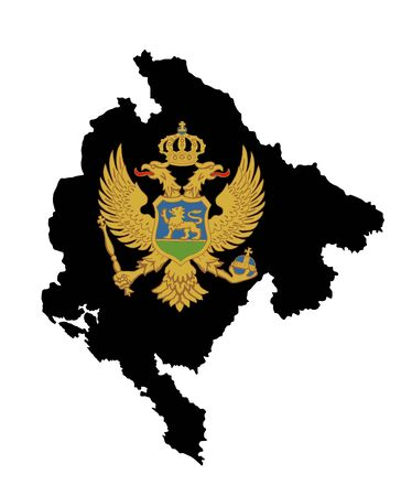 Montenegro vector map silhouette isolated on white background. High detailed  illustration. Montenegro coat of arms, seal or national emblem, isolated on white background.