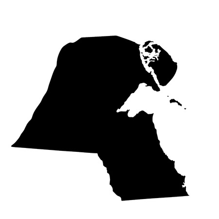 sheik: Kuwait vector map high detailed silhouette illustration isolated on white background.