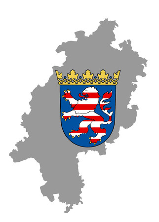 hessen: Hessen map vector, high detailed silhouette illustration isolated on white background. Coat of arms of Hesse, Hessen, Germany state, vector coat of arms in official colors and Proportion Correctly.
