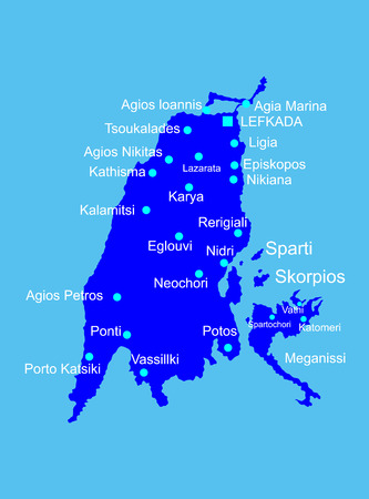 Island of Lefkada in Greece vector map high detailed silhouette illustration isolated on blue background.