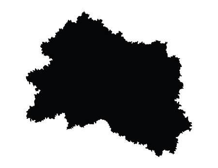 subdivisions: Oryol Oblast vector map isolated on white background. High detailed silhouette illustration. Russia oblast map illustration. Orlovskaya oblast map.