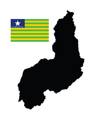 para: Piaui, Brazil, vector map and flag isolated on white background. High detailed silhouette illustration. Original Piaui flag isolated vector in official colors and Proportion Correctly