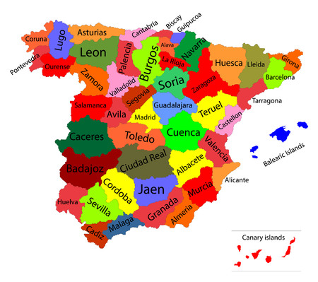 Editable colorful vector map of Spain. Vector map of Spain isolated on background. High detailed. Autonomous communities of Spain. Administrative divisions of Spain, separated provinces with color.