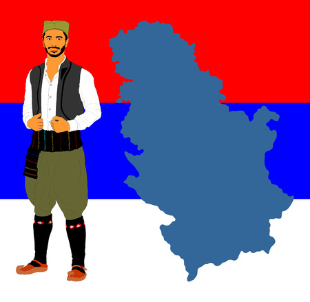 Republic of Serbia vector map isolated on Serbian flag background. High detailed illustration. Portrait of a man in traditional Serbian dress vector isolated. Serbia wears, Balkan folklore culture. Stock Illustratie