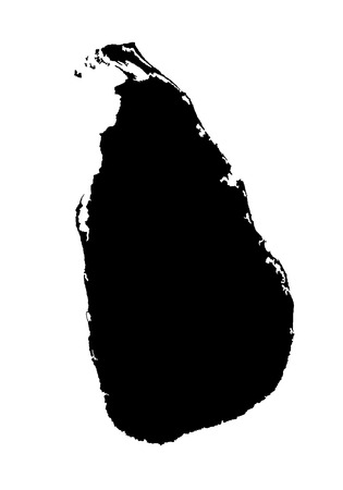 socialist: Democratic Socialist Republic of Sri Lanka vector map high detailed silhouette illustration isolated on white background.