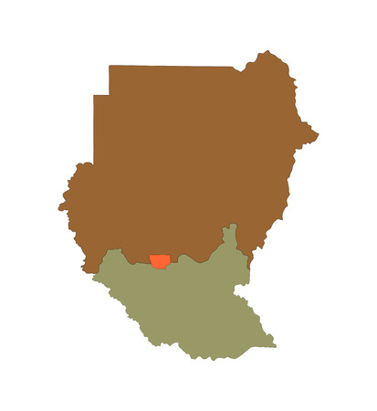actual: Sudan map with new borders. Vector illustration of actual political situation in Sudan, Africa, Republic of Sudan, South Sudan and Abyei vector map high detailed silhouette illustration isolated.