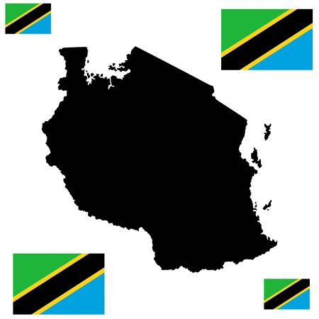 Tanzania vector map silhouette and vector flag high detailed silhouette illustration isolated on white background. Иллюстрация