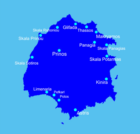 thassos: Island of Thassos in Greece vector map isolated on blue background.
