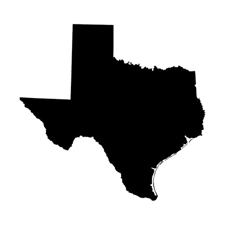 Texas vector map high detailed silhouette illustration isolated on white background.