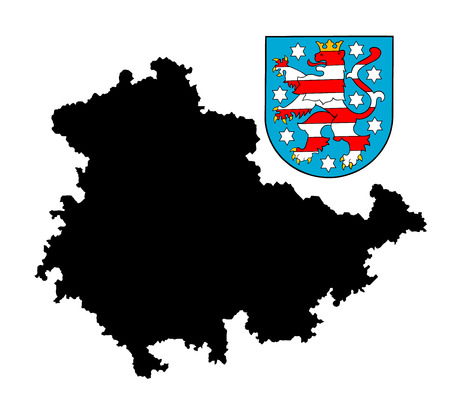 argent: Coat of arms of Thuringia, Germany. Original flag isolated vector in official colors and Proportion Correctly, High detailed vector map - Thuringen black silhouette iisolated. ProvInce in Germany.