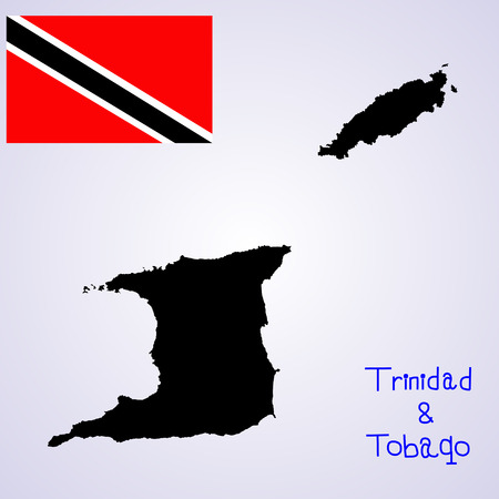 Republic of Trinidad and Tobago vector map and vector flag isolated on background silhouette. High detailed illustration.
