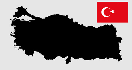 rug map: Turkey vector map and vector flag silhouette, high detailed illustration. Original and simple Turkey flag isolated vector in official colors and Proportion Correctly. Illustration