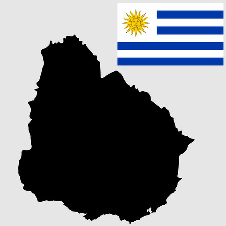 shilouette: High detailed vector map - Uruguay, isolated on white background. Original and simple Uruguay flag isolated vector in official colors and Proportion Correctly