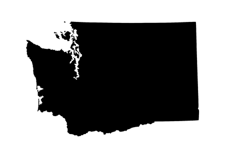 colorado mountains: Washington State vector map isolated on white background. High detailed silhouette illustration.