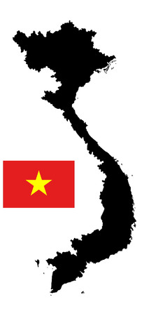 indochina peninsula: Vietnam vector map silhouette isolated on white background. Original and simple Vietnam flag isolated vector in official colors and Proportion Illustration