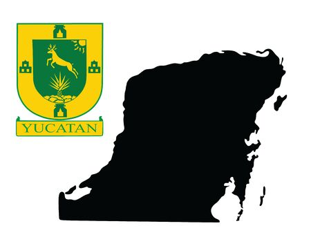 Yucatan Peninsula, Mexico, vector map silhouette isolated on white background. High detailed illustration. Coat of arms of Yucatan, Mexico. 向量圖像