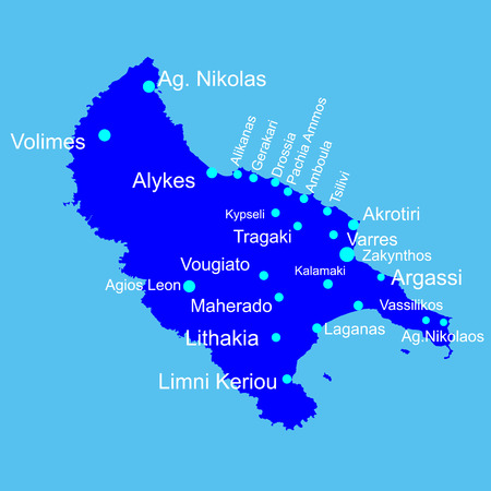 Island of Zakinthos (Zakynthos) in Greece vector map silhouette illustration isolated on blue background.