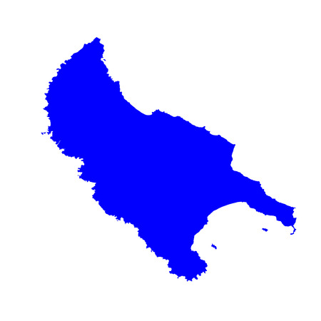 Island of Zakinthos (Zakynthos) in Greece vector map silhouette illustration isolated on white background.