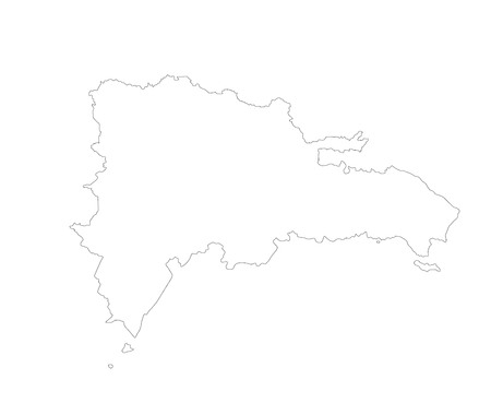 Dominican Republic vector map contour isolated on white background. High detailed silhouette illustration. Stock Illustratie