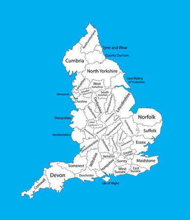 Editable blank vector map of England. Vector map of England isolated on background. High detailed. Autonomous communities of England. Administrative divisions of England, separated provinces. Illustration