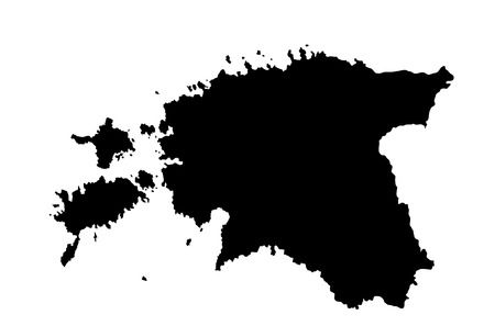 baltic sea: Estonia vector map isolated on white background. High detailed silhouette illustration.