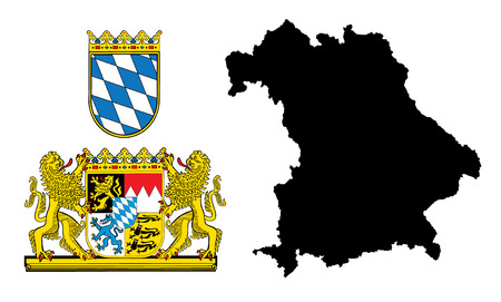Great coat of arms of Bavaria, Germany, isolated vector in official colors and Proportion Correctly. High detailed vector map - Bavaria/Bayern, silhouette illustration isolated. Province in Germany. Vettoriali