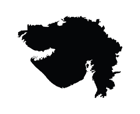 gujarat: Gujarat, India, vector map isolated on white background. High detailed silhouette illustration.