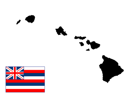 oahu: Hawaii vector map and vector flag, high detailed silhouette illustration isolated on white background