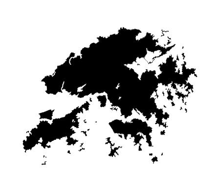 Hong Kong vector map isolated on white background silhouette. High detailed illustration. Ilustração