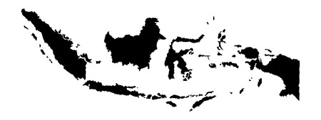 Indonesia vector map isolated on white background silhouette. High detailed illustration. Vetores